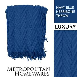 Herribone Throw Navy