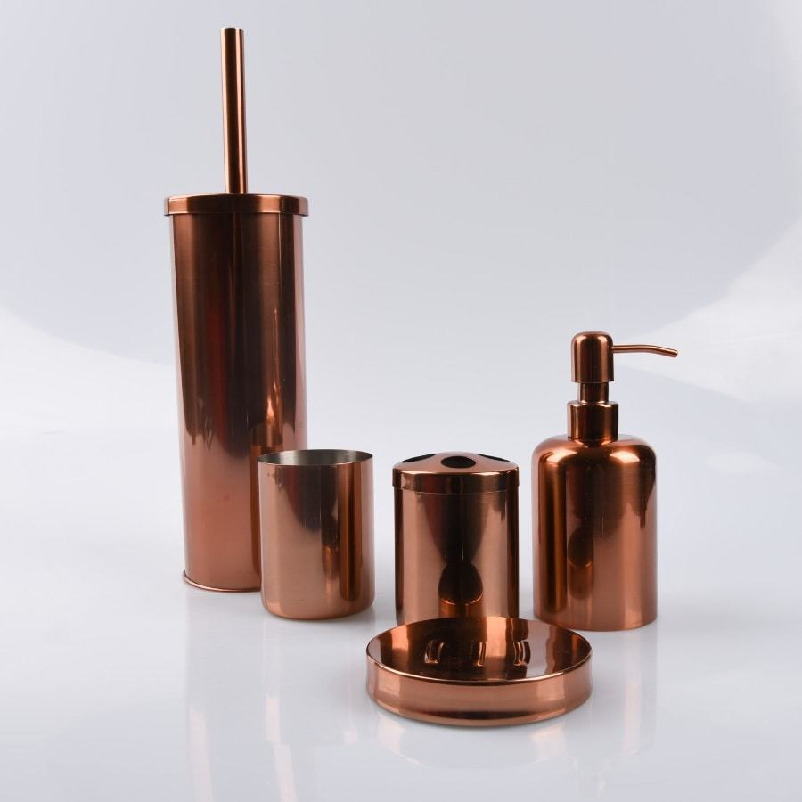 Rose gold bathroom accessories for Gold bathroom accessories