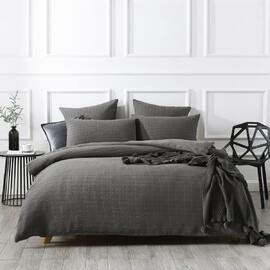 Jax Chunky Waffle Charcoal Quilt Cover Set