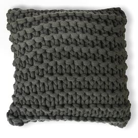 Meridian Chunky Square Cushion Coal (charcoal)