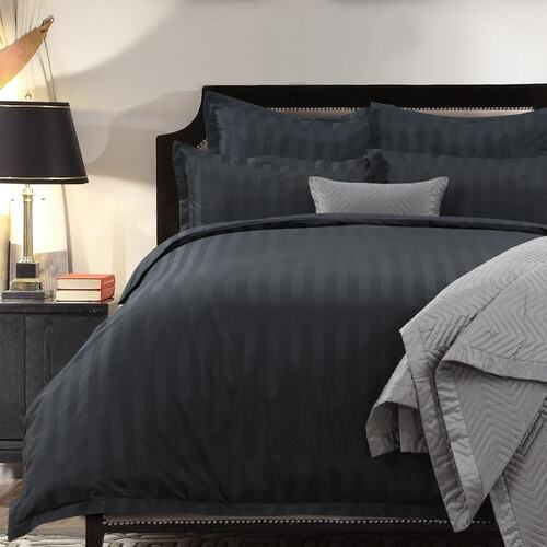 1200 Thread Count Quilt Cover Set Black Queen King Super King