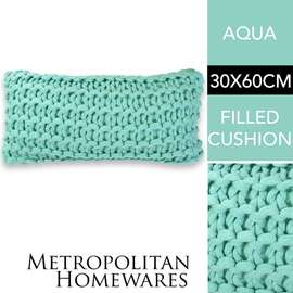 Meridian Chunky Oblong Cushion Aqua