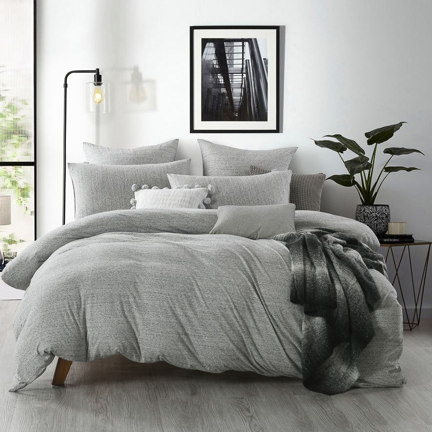 Jersey Quilt Cover Set Grey