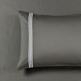 Ritz Embroidered Standard Pillowcases ( PAIR ) -1000TC Charcoal