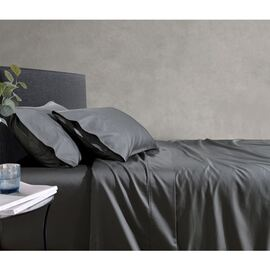 1000TC Cotton Fitted Sheet Charcoal Mega Super King Bed