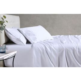Soho 1000TC Cotton Fitted Sheet White Super Queen Bed