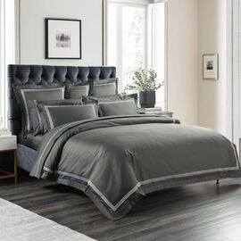 1000TC Embroidered Charcoal Quilt Cover Set