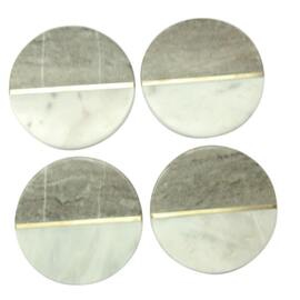 White & Grey Marble Coaster W/ Brass Inlay Circle (set of 4)