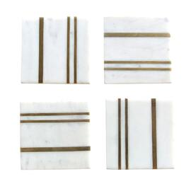 White Marble Coaster W/ Brass Inlay Square (set of 4) Style 2