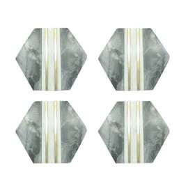White & Grey Marble Coaster W/ Brass Inlay Hexagon (set of 4)