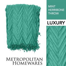 Herribone Throw Mint