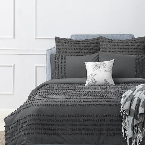 Dale Quilt Cover Set Charcoal