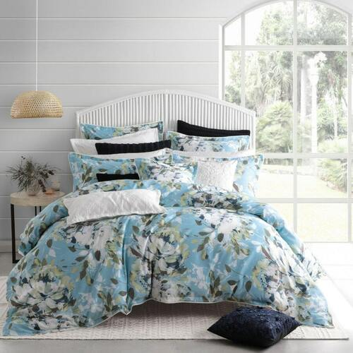Jessica Blue Quilt Cover Set [SIZE: European Pillow Case]