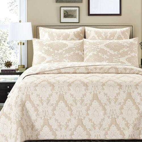 Julian Beige Bedspread Queen Bed
